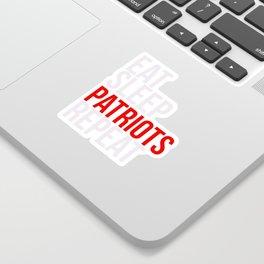 Eat Sleep Patriots Repeat Football Fan Sticker