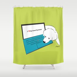 Techie Great Pyrenees Puppy Shower Curtain