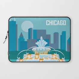 Chicago, Illinois - Skyline Illustration by Loose Petals Laptop Sleeve