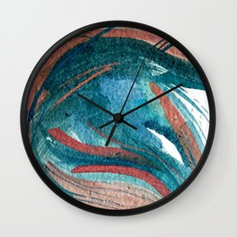 Somewhere New: a colorful abstract piece in pinks and greens Wall Clock