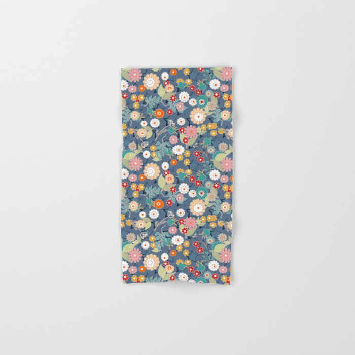 Colorful flowers on a denim background. Hand & Bath Towel