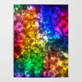 Luminous intersecting red hearts on a sparkling background. Poster
