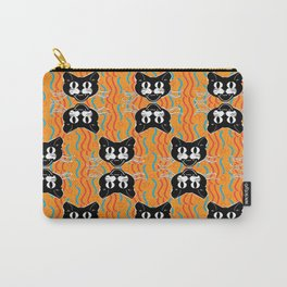 Black Cat Pattern on Orange Carry-All Pouch