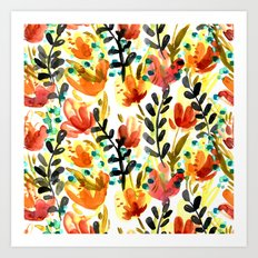 Warm Wildflowers Pattern Art Print