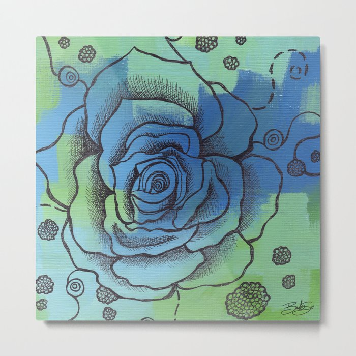 Somber Rose Metal Print