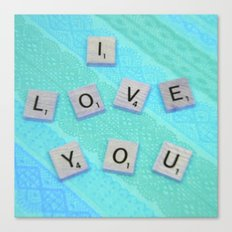 Darling I Love You In Teal Canvas Print