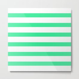 Green Turquoise Stripes on White Background Metal Print
