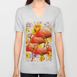 MODERN CREAM-YELLOW ART FLAMINGO  FLORAL PURPLE  ABSTRAC Unisex V-Neck