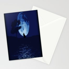 Blue moon wolf Stationery Cards