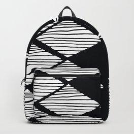Mid-Century Modern Diamond-Style Black White Geometric Pattern  Backpack