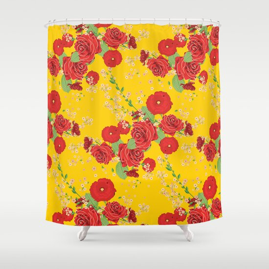 Red Poppies And Roses On Yellow Shower Curtain By Annartshock Society6