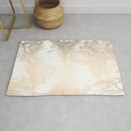 Antique White Gold World Map Rug