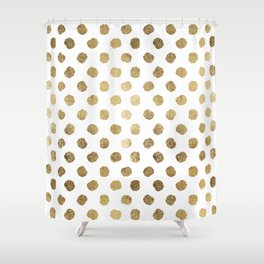 Luxurious faux gold leaf polka dots brushstrokes Shower Curtain