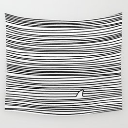 Minimal Line Drawing Simple Unique Shark Fin Gift Wall Tapestry