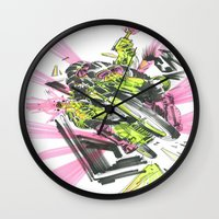 moto Wall Clocks featuring Moto Mutants by Mike McDonnell