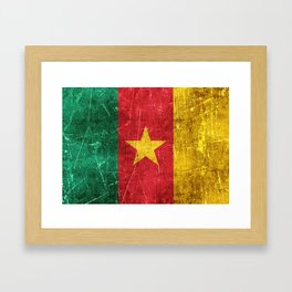 Vintage Aged and Scratched Cameroon Flag Framed Art Print