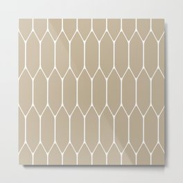 Long Honeycomb Geometric Minimalist Pattern in White and Neutral Flax Metal Print