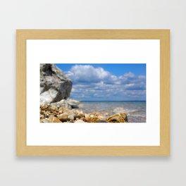 Low Angle Rocky Lake Shore Framed Art Print