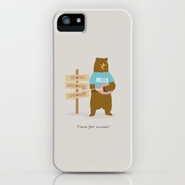 Time for music, bear iPhone Case