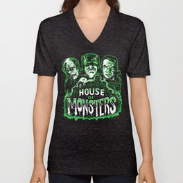 House of Monsters Phantom Frankenstein Dracula classic horror Unisex V-Neck