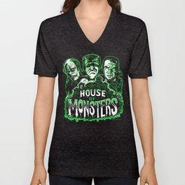 House of Monsters Phantom Frankenstein Dracula classic horror Unisex V-Neck