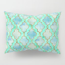 Luxury Aqua Teal Mint and Gold oriental quatrefoil pattern Pillow Sham