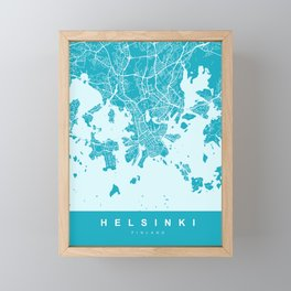 Helsinki Map | Finland | Blue & Cyan Colors | More Colors, Review My Collections Framed Mini Art Print