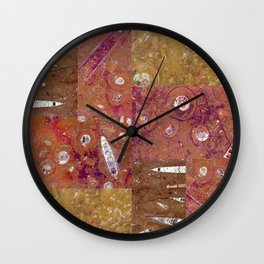Ancient Seabed Collection Collage - Terracotta Brown Wall Clock