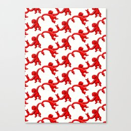 Monkey Toy Pattern - Red Canvas Print