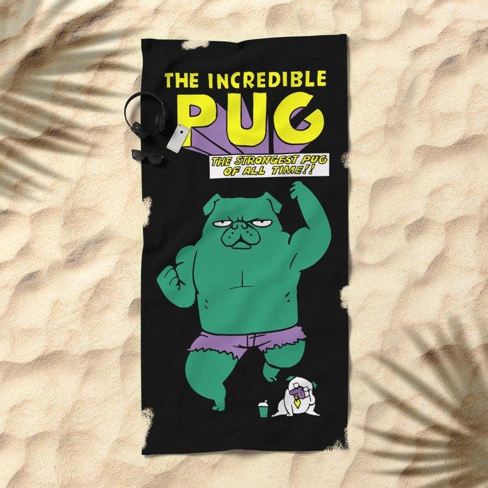 The Incredible Pug Beach Towel