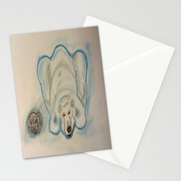 Grey Cat and a Polar Bear Stationery Cards