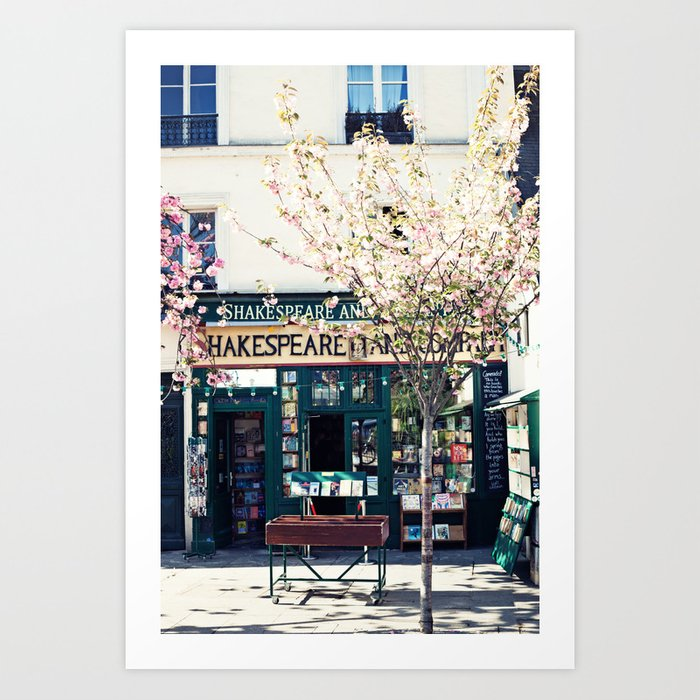 Cherry blossoms in Paris, Shakespeare & Co. Kunstdrucke