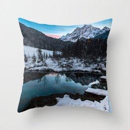 Zelenci springs at dusk Throw Pillow