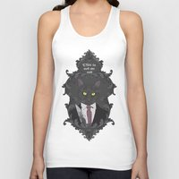 american psycho Tank Tops featuring American Psycho Kitty by Elisabeth Acerbi