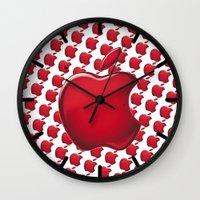 apple Wall Clocks featuring Apple by JT Digital Art