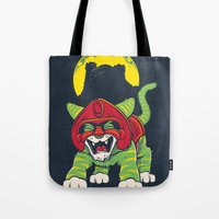 dentist Tote Bags featuring Battle Kitty's Mighty RAWR!  by Fanboy30