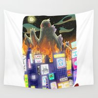 godzilla Wall Tapestries featuring Godzilla by David Pavon