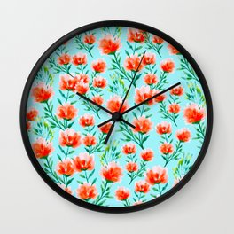 Red floret Wall Clock