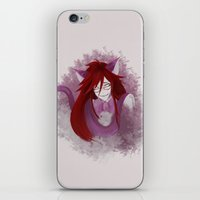 black butler iPhone & iPod Skins featuring Kuroshitsuki / Black Butler - Grell Sutcliff by hinterdemlicht