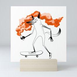 Fox Skateboarder Red Mini Art Print