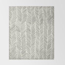 Herringbone Black on Cream Throw Blanket