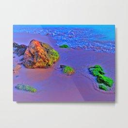 HyperColor Tidal Beach Rocks Metal Print