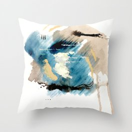 You are an Ocean - abstract India Ink & Acrylic in blue, gray, brown, black and white Throw Pillow