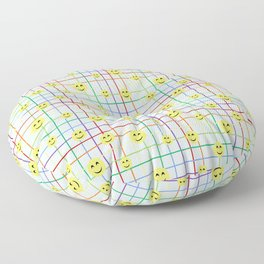 Colorful Smileys 2 - light blue Floor Pillow