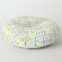 Colorful Smileys 2 - light blue Floor Pillow