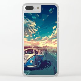 summer road landscape Clear iPhone Case