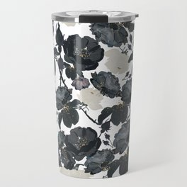 Hand drawn bohemian black and white roses glitter pattern Travel Mug