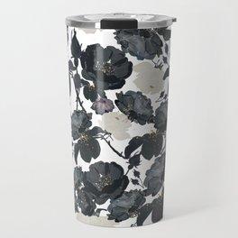 Hand drawn bohemian black and white roses glitter pattern Travel Mug