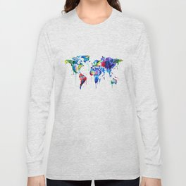 World Map, colorful Long Sleeve T-shirt