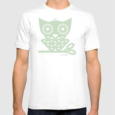 Green Hoot MEDIUM White Mens Fitted Tee